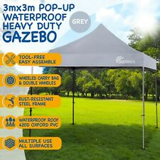 Grey 3x3m Pop Up Gazebo Garden Tent Canopy Grade A Refurbished