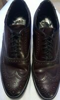 Florsheim Imperial Wing Tip Oxford Shoes Mens 9.5 D Burgundy Leather #75913