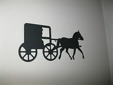 BLACK METAL STEEL --  Horse & Buggy Silhouette Wall Plaque -Decorative