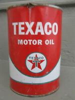 Vintage Original Texaco Motor Oil Can Metal Quart 1 Qt Old Logo Great RED Color