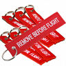 1X Red Remove Before Flight Embroidered Keychain Suitcase Luggage Tag Keyring
