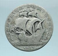 1947 PORTUGAL Coin PORTUGUESE SAILING SHIP Old Silver 2.50 Escudos Coin i78456