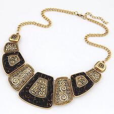 D36 Art Deco Tortoise Shell Brown & Black Silver Swirl Statement Metal Necklace