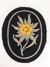 Germany/German WWII Gebirgsjager/Mountain Troops cloth sleeve edelweiss ON BLACK