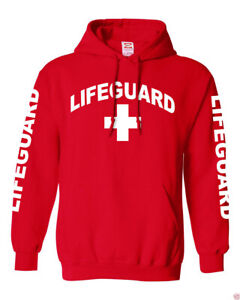 NW MEN'S LIFEGUARD BEACH SAFETY POOL STAFF SWEATSHIRT RED PULLOVER HOODIE JACKET