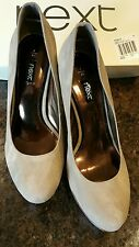 Ladies shoes size 7 mink suede heels with metallic copper heel & base, new boxed