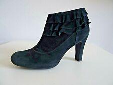 Unisa Schuhe Ankle Boots Stiefeletten Booties Blockabsatz Dunkelgrün Suede 37