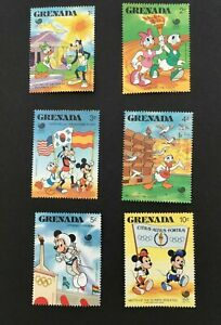 Grenada 1988 Disney Stamps Mickey Mouse Seoul Olympics Set of 6 Hinged VGC M282