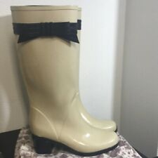 Kate Spade cream bow heeled twin boots size 9