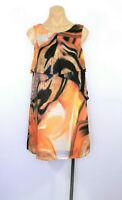 BARIANO Dress Shift Orange Black Swirl Party Cocktail Size UK 10 RRP $149 BNWT