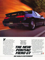 1985 Pontiac Fiero GT Original Advertisement Car Print Ad J505