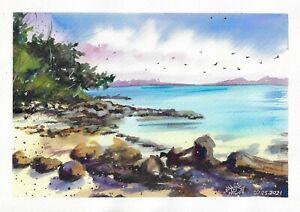 original painting A4 136RK art samovar watercolor modern landscape beach sea