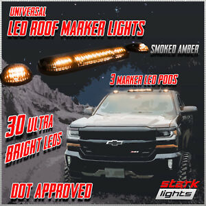 3PC 30 AMBER LED Smoked Lens Roof Top Full Running Parking Cab Lights Truck SUV