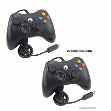 2x Controller Cablato USB Nero per XBOX 360 MICROSOFT PC WINDOWS LAPTOP DESKTOP