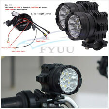 2 Pcs 6500K 7800LM Motorcycle ATV 9LED Headlights Fog Spotlamps+Wire Harness Set