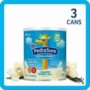 PACK OF 3 PediaSure Grow & Gain Non-GMO Vanilla Shake Mix 14.1oz