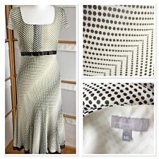 Per Una Party Occasion Dress Size 14 Black & Cream Spotted Maxi Short Sleeve