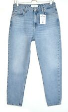 Topshop MOM High Waisted Tapered Blue Ankle Grazer Jeans Size 12 W30 L30