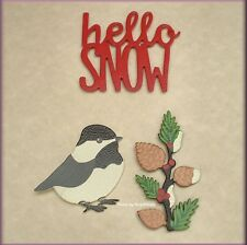 HELLO SNOW WORD PACK METAL MAGNETS SET OF 3 EMBELLISH YOUR STORY FREE U.S. SHIP