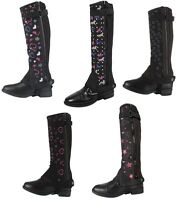 LADIES Equestrian Horse Riding Synthetic Leather Show Adults Half Chaps Gaiters