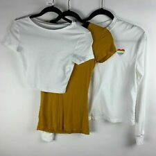 Juniors Bundle Lot 3 Wild Fable Size XS Solid Yellow T-Shirt White Crop Top