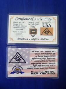 1/2  Grain OR  24K  9999 fine Cert/authenticité