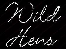"Diamonte Hotfix Wedding Transfers Rhinestones iron On Motif ""Wild Hens"" -Style1"