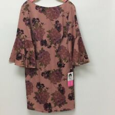 Betsey Johnson Womens Cocktail Dress Pink Floral Back Zip Stretch Plus 16W New