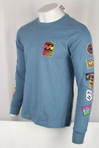Billabong Ron Jon Men's Psycho Waves Long Sleeve Tee Shirt Blue M405VBPW