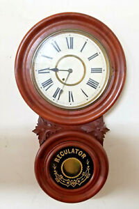 Beautiful New Haven FIGURE 8 TIMEPIECE REGULATOR DR Wall Clock With Carvings