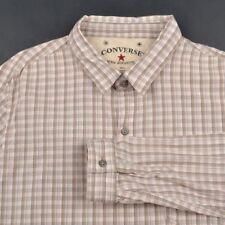 JOHN VARVATOS Converse Beige Check 100% Cotton Mens Casual Dress Shirt - SMALL