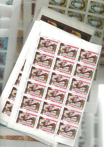 Russia 1970/1991 MNH, 5.800 stamps in sheet of part of sheet, very fine quality