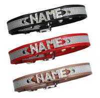 NEU! Hundehalsband mit Namen aus Strassbuchstaben Reflektierend Leuchthalsband
