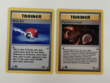 1st Edition Poke Ball 64/64 + Mysterious Fossil 62/62 Trainer Pokemon Cards - NM