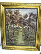 """Antique Bas Relief Oil Painting Trees Woods Forest Nature 20""""x 16"""" Framed Art"""