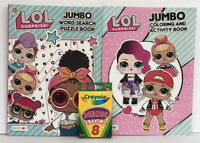 New 2 LOL Surprise Jumbo Coloring, Activity & Word Search Books + Neon Crayons