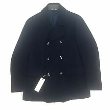 NWT $1.4k Corneliani CC Collection Men's Navy Marled Wool Peacoat Coat AUTHENTIC