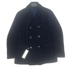 NWT $1.4k Corneliani CC Collection Men's Navy Marled Wool Peacoat Coat AUTHENTIC