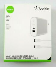 Belkin Dual Charger 27W Silver USB-C & USB-A Home Charger + USB-C Cable - NEW!