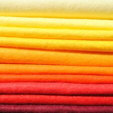 Wool Mix 12 inch Felt Squares x10 - Flame - Yellows & Oranges - Soft Craft Felt