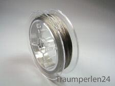 1m =0,059€ Stahlseide 50m Rolle Schmuckdraht 0,38mm Nylon Edelstahl Spule Silber
