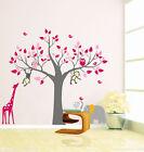 Monkey elephant owl giraffe tree Quote Wall Stickers Vinyl Decor Kids Nursery AU