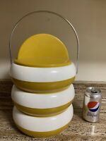 RARE Mid Century Modern Retro Plastics Consolidated Ice Bucket Yellow Gold White