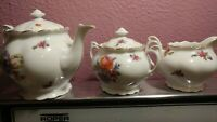 Union Czech Republic Coffee Pot Set with Creamer and Sugar Bowl Rose Flower Rare
