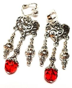 Long Silver Red Clip-On Earrings Glass Bead Drop Dangle Chandelier Style Clips