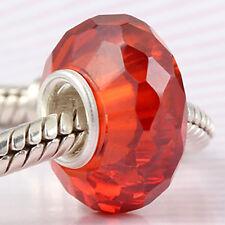 925 Sterling Silver CZ Crystal Birthstone Charm Bead Fit European Bracelet SS230