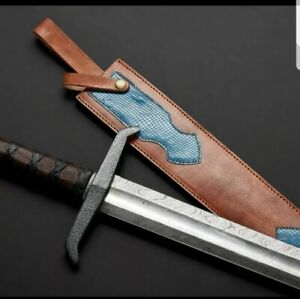Fully Hand Forged Damascus Steel King Arthur Sword,with Leather Rap Handle.