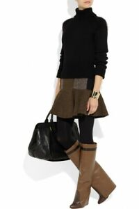 GIVENCHY BROWN LEATHER WEDGE KNEE BOOTS (SHARK BOOTS STYLE) 37