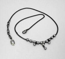 """STEVE MADDEN DESIGNER Black Chain Necklace 14 Round Clear Rhinestones 16"""" - 18"""""""