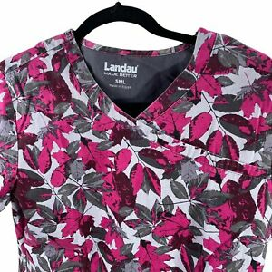 Landau Autumn Red Gray Leaves Small Scrub Top